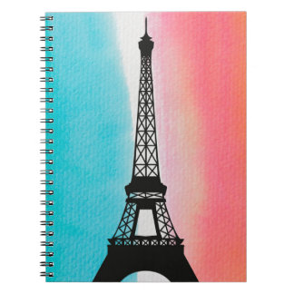 Cool Eiffel Tower Paris iron colourful background Notebook