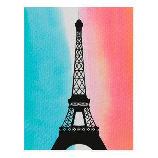 Cool Eiffel Tower Paris iron colourful background Postcard