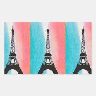 Cool Eiffel Tower Paris iron colourful background Rectangular Sticker