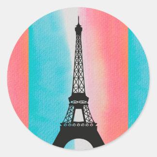 Cool Eiffel Tower Paris iron colourful background Round Sticker