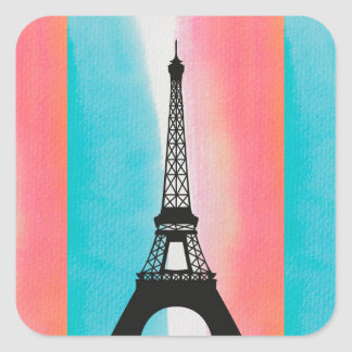 Cool Eiffel Tower Paris iron colourful background Square Sticker