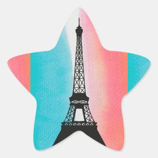 Cool Eiffel Tower Paris iron colourful background Star Sticker
