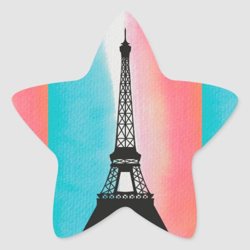 Cool Eiffel Tower Paris iron colourful background Stickers