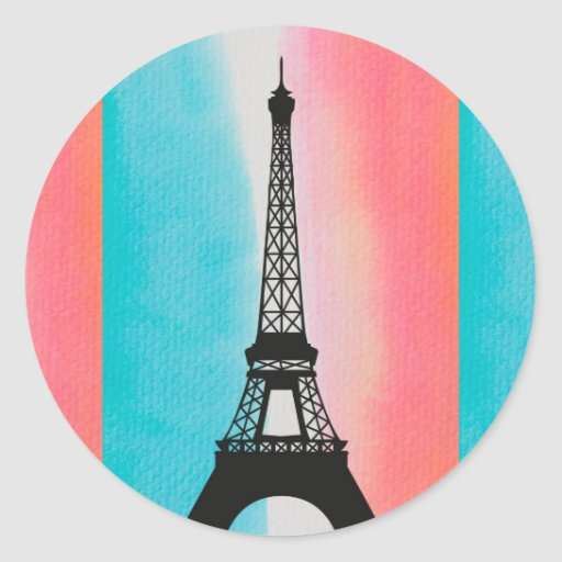 Cool Eiffel Tower Paris iron colourful background Round Stickers