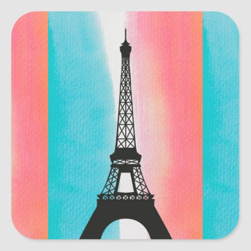 Cool Eiffel Tower Paris iron colourful background Square Stickers