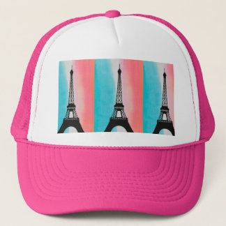 Cool Eiffel Tower Paris iron colourful background Trucker Hat