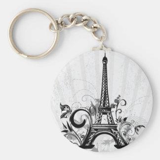 Cool Eiffel Tower swirls dots splatters butterfly Key Ring