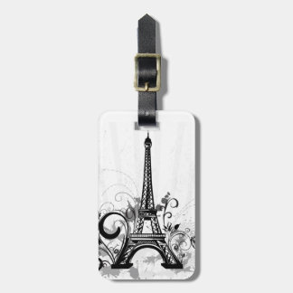 Cool Eiffel Tower swirls dots splatters butterfly Luggage Tag