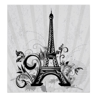 Cool Eiffel Tower swirls dots splatters butterfly Poster