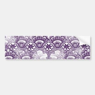 Cool Elegant Distressed Purple Lace Damask Pattern Bumper Sticker