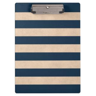 Cool Elegant Girly Rose Dark Blue Striped Clipboard