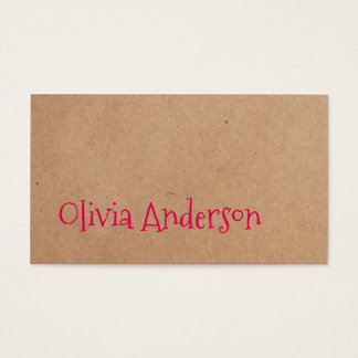 Cool Elegant Kraft Paper Pink Consultant Business Card