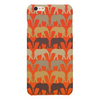 Cool Elephants Pattern On Sunset Orange iPhone 6 Plus Case