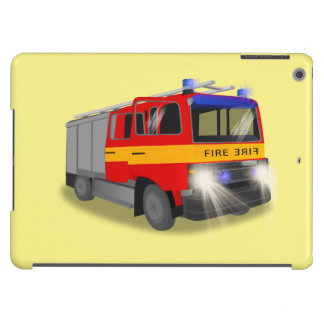 Cool Emergency Fire Engine Cartoon Design for Kids Cover For iPad Air