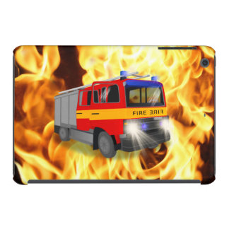 Cool Emergency Fire Engine Cartoon Design for Kids iPad Mini Retina Cases