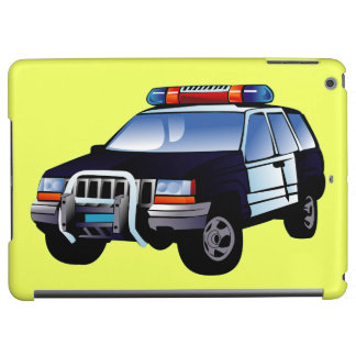 Cool Emergency Police Car Cartoon Design for Kids iPad Air Cover