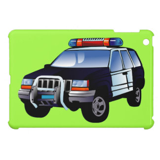 Cool Emergency Police Car Cartoon Design for Kids iPad Mini Cover