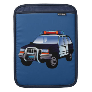 Cool Emergency Police Car Cartoon Design for Kids Sleeve For iPads