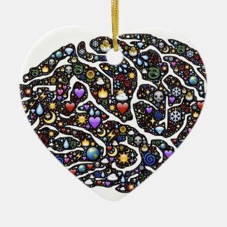 Cool Emoji Brain Pattern Design Ceramic Heart Decoration