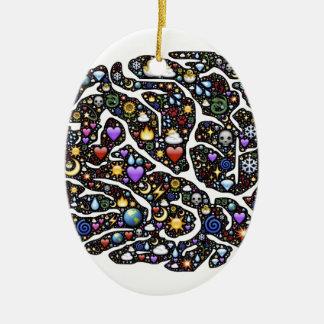 Cool Emoji Brain Pattern Design Ceramic Oval Decoration
