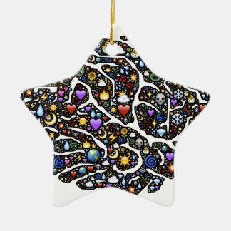 Cool Emoji Brain Pattern Design Ceramic Star Decoration