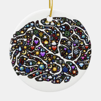 Cool Emoji Brain Pattern Design Round Ceramic Decoration