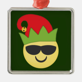 Cool Emoji Elf Christmas Ornament
