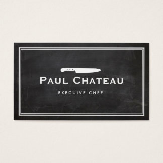 Cool Executive Chef Knife Blogo Black Chalkboard Business Card