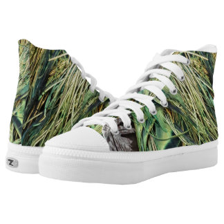 Cool Exotic Peacock Feathers High Tops