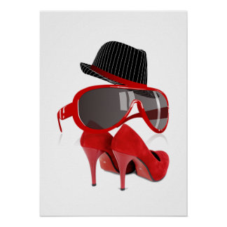 Cool Fashion ladies red hat shoes & glasses Poster