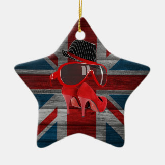 Cool fashion red hat shoes glasses union jack flag christmas ornament