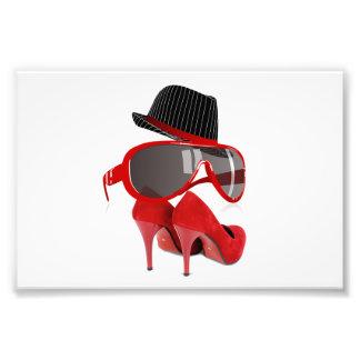 Cool Fashion red ladies hat shoes & glasses Photo Print