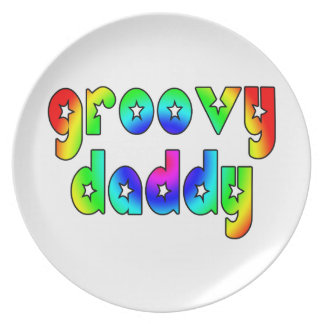 Cool Fathers Day & Hip Dads Birthdays Groovy Daddy Plates
