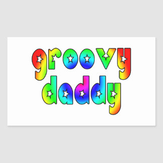 Cool Fathers Day & Hip Dads Birthdays Groovy Daddy Rectangular Sticker