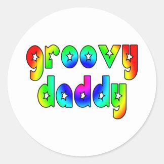 Cool Fathers Day & Hip Dads Birthdays Groovy Daddy Round Sticker