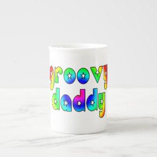 Cool Fathers Day & Hip Dads Birthdays Groovy Daddy Bone China Mugs