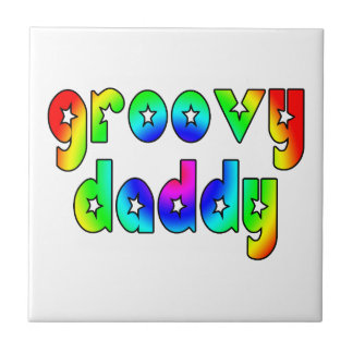Cool Fathers Day & Hip Dads Birthdays Groovy Daddy Tile