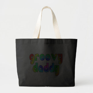 Cool Fathers Day & Hip Dads Birthdays Groovy Daddy Jumbo Tote Bag