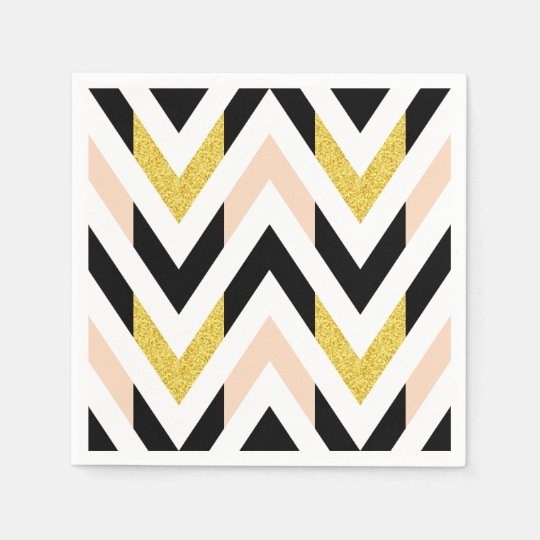 Cool Faux Glitter Gold, Black, Peach Pink Chevron