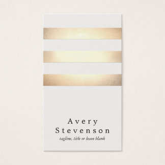 Cool Faux Gold Foil and White Striped Modern