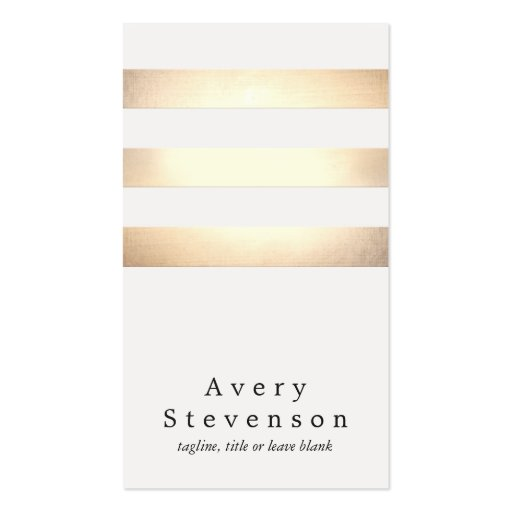 Cool Faux Gold Foil and White Striped Modern Business Card Templates