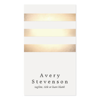 Cool Faux Gold Foil and White Striped Modern Pack Of Standard Business Cards