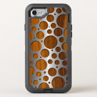Cool Faux Metal Modern Trendy Wood Grain Pattern OtterBox Defender iPhone 8/7 Case