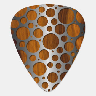 Cool Faux Metal Modern Trendy Wood Grain Pattern Plectrum
