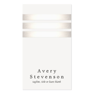 Cool Faux Silver Foil and White Striped Modern Pack Of Standard Business Cards