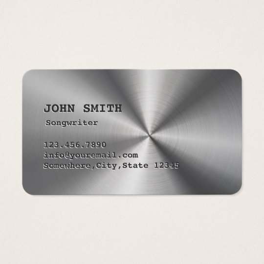 Cool Faux Stainless Steel Songwriter Business Card
