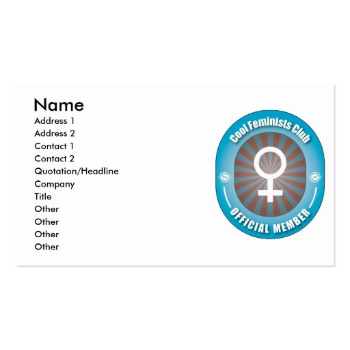 Cool Feminists Club Business Card