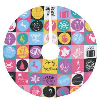 "Cool  festive ""Merry Christmas""  illustration Brushed Polyester Tree Skirt"