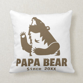 Cool Fierce Roaring Brown Papa Bear For Dad Throw Pillow
