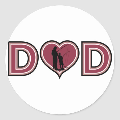 Cool Fishing DAD Father's Day Round Sticker